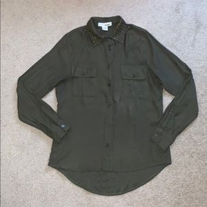 Army Green Button Up With Studded Collar